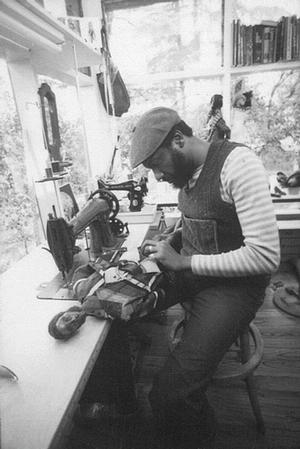 John Outterbridge making a doll in his Fair Oaks studio, Altadena, c. 1972. Photo courtesy Tilton Gallery, NYC